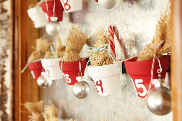 Advent calendar made from mini clay pots
