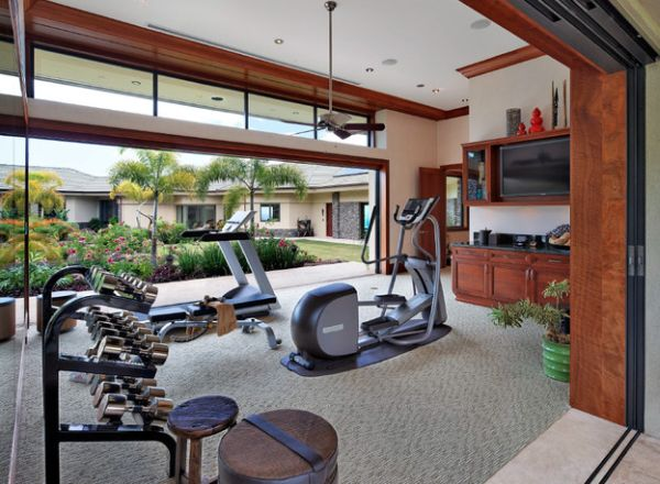 Airy gym that opens into the courtyard