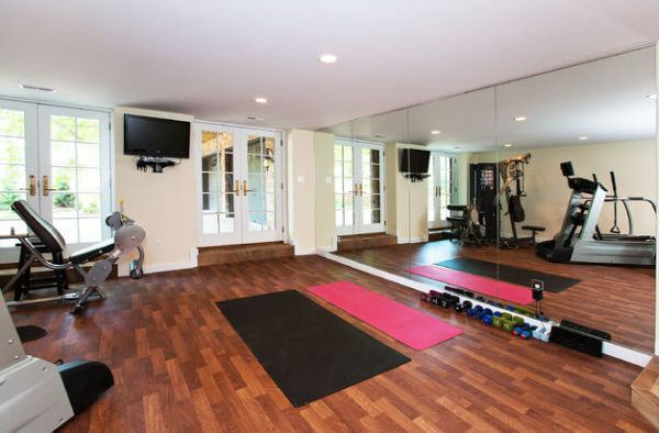 An old two car garage turned into spacious home gym