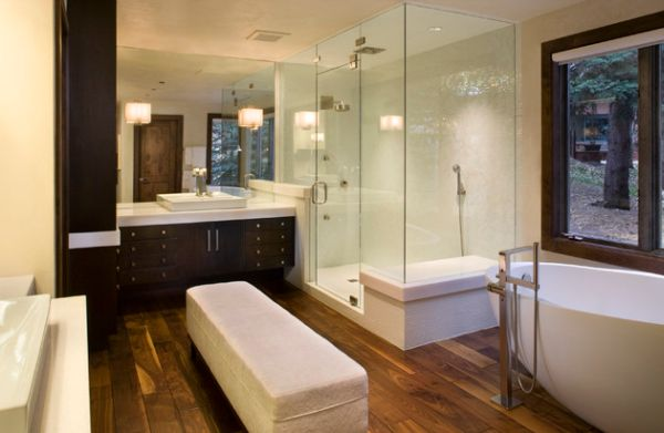 view in gallery an ottoman adds more luxury and comfort to your bathroom with steam shower