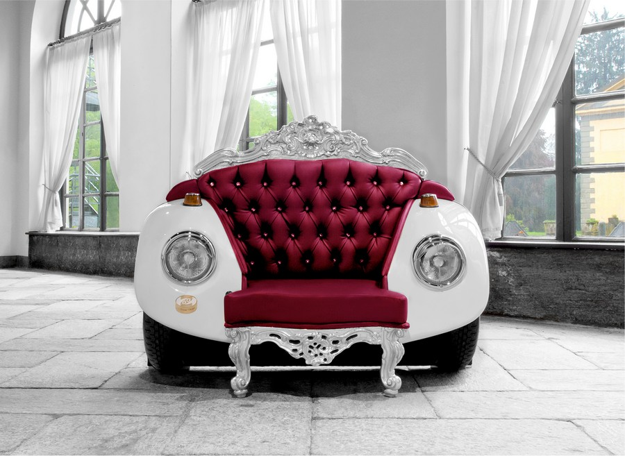 Armchair inspired by cars Glamour Beetle Armchair: Unconventional Style meets Bold Baroque!
