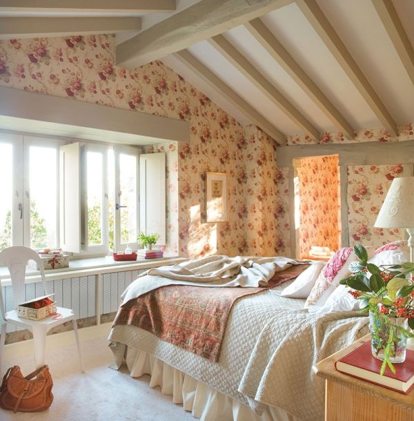 Attic bedroom with a lovely garden view