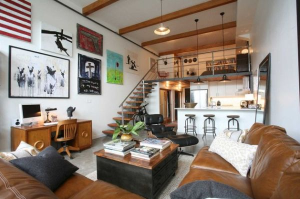 70 bachelor pad living room ideas - A loft apartment bachelor pad ...