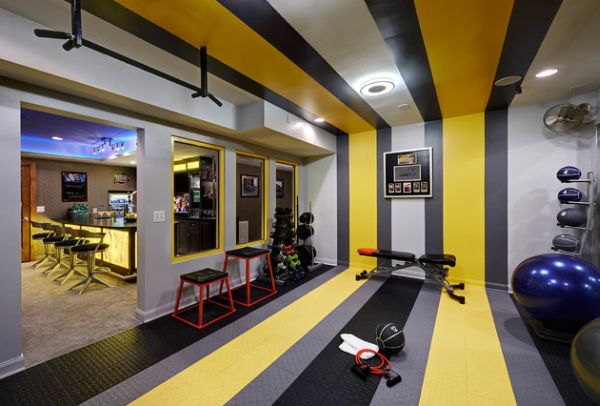 Basement home gym and bar with colorful stripes