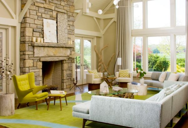 Beautiful living room with the Papa Bear Chair in trendy apple green shade