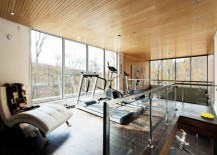 beautiful wooden ceiling and the fabulous view outside add to the appeal of this home gym - Home Gym Design Ideas