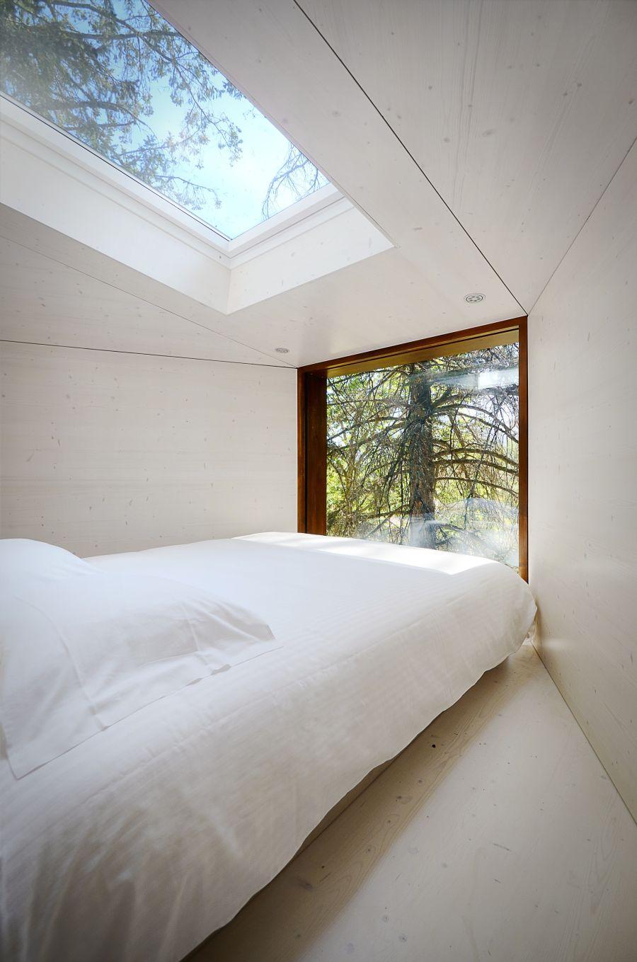 Bedroom inside the tree house at  Pedras Salgadas Park