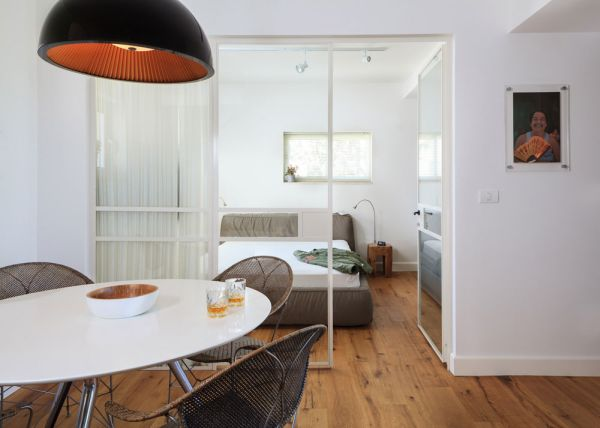 Bedroom of a modern bachelor pad in Tel Aviv