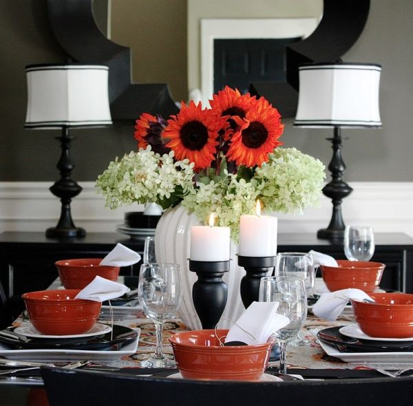 Black and white table decoration with a hint of red