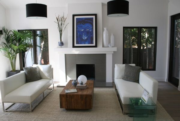 Black drum pendants add drama to the bachelor pad