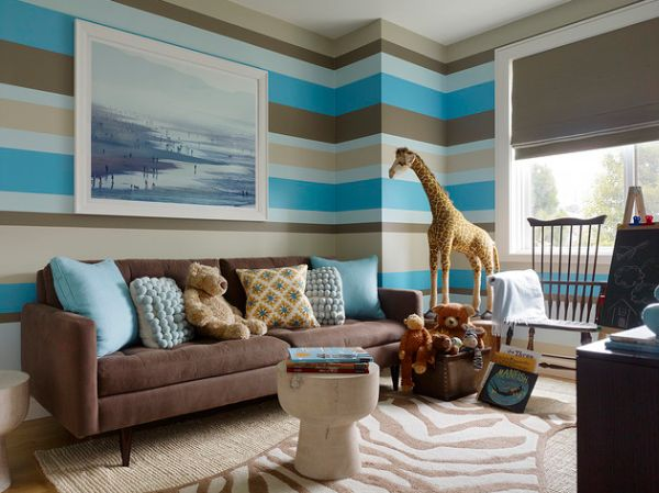 View in gallery Blue  brown  gray green and tan stripes sure look amazing. Cool Boys Room Paint Ideas For Colorful And Brilliant Interiors