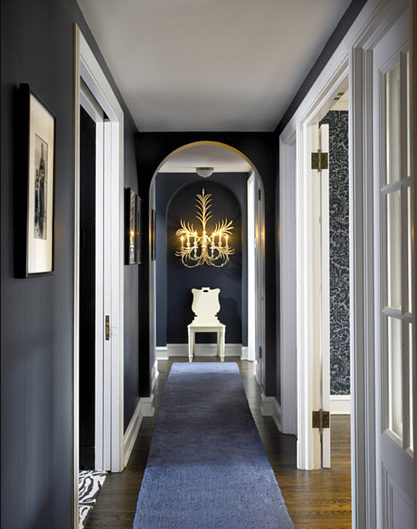 Blue runner in an elegant hallway