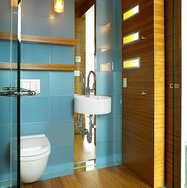 Tiny bathroom design ideas that maximize space for Sky blue bathroom designs