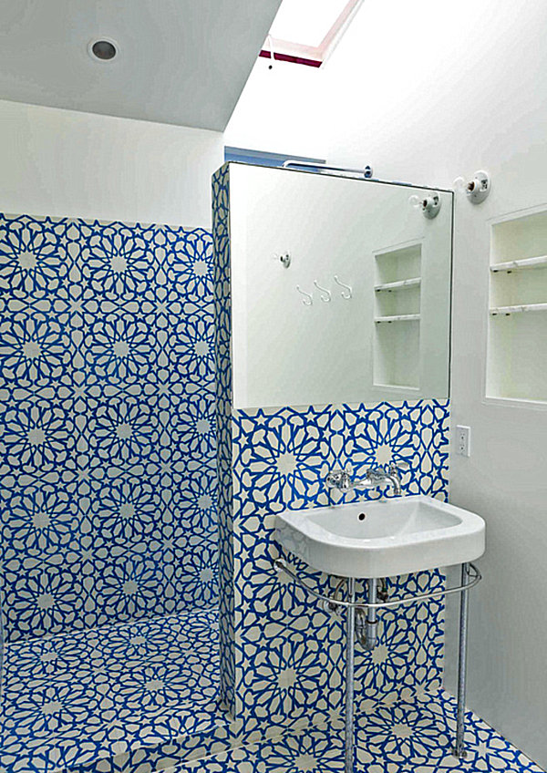 Bold tile in a small bathroom