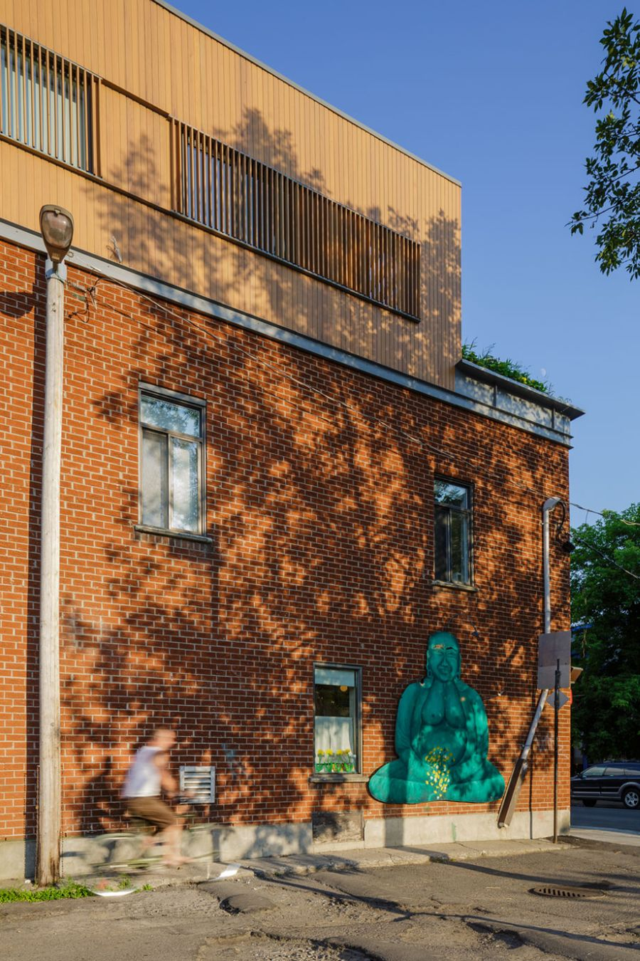 Brick facade of the Mentana Residence in Montreal