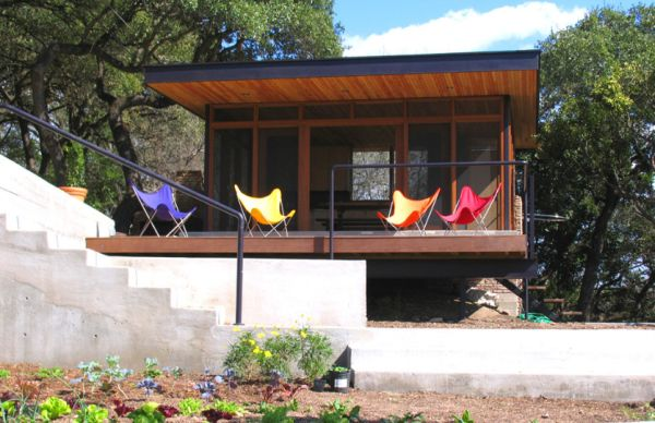 Bright Butterfly chairs on the porch