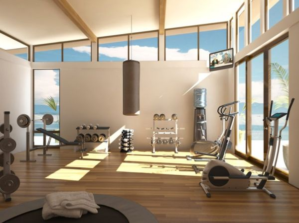 Bright interior of a home gym with ample ventilation