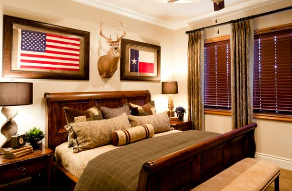 Cabin-styled bedroom with a large sleigh bed