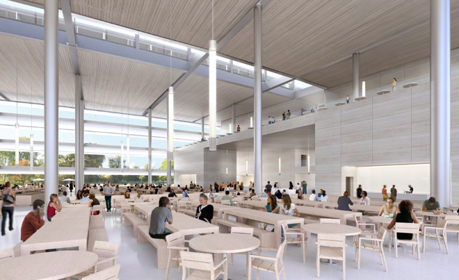 Cafeteria inside the Apple campus