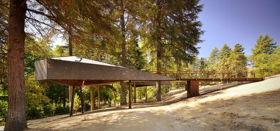 Cantilevered structure of the snake tree house in Pedras Salgadas