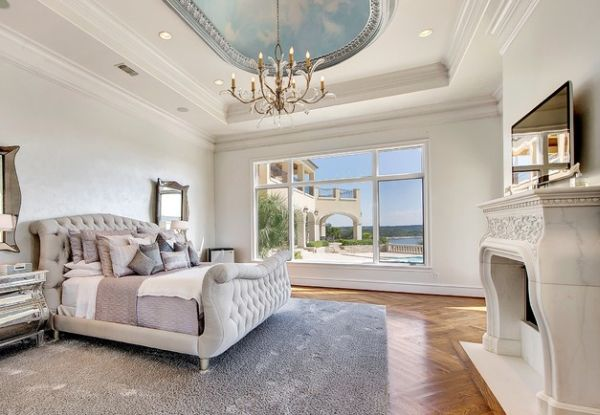View In Gallery Carved Marble Fireplace And Tufted Sleigh Bed Bring Once To The Bedroom