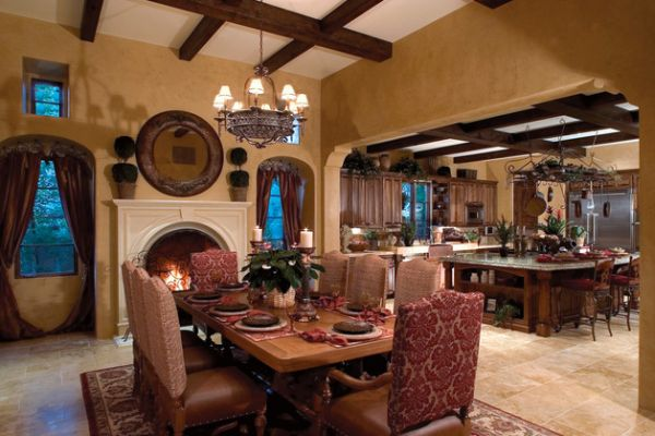 Classic dining room with fireplace and a hint of Mediterranean charm