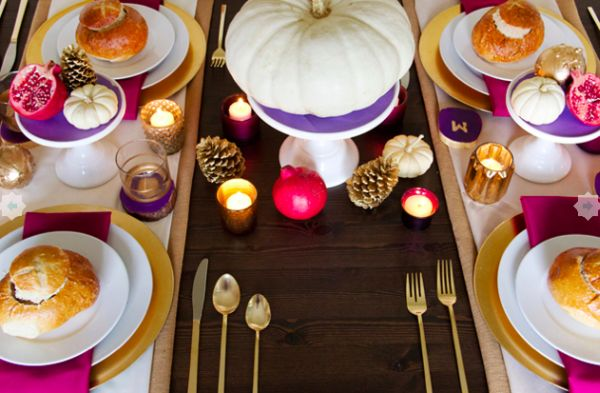 Colorful Thanksgiving table setting idea