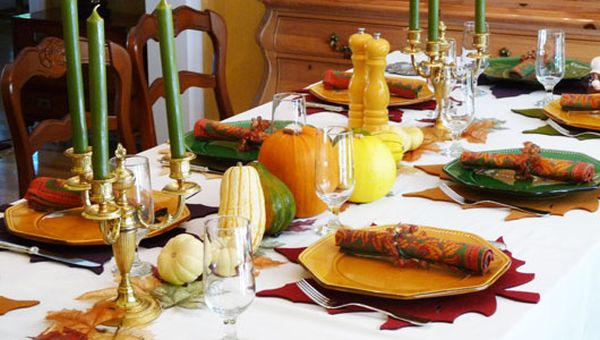 Colorful Thanksgving table with green goodness
