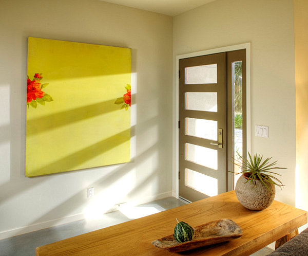 Colorful artwork in an entryway