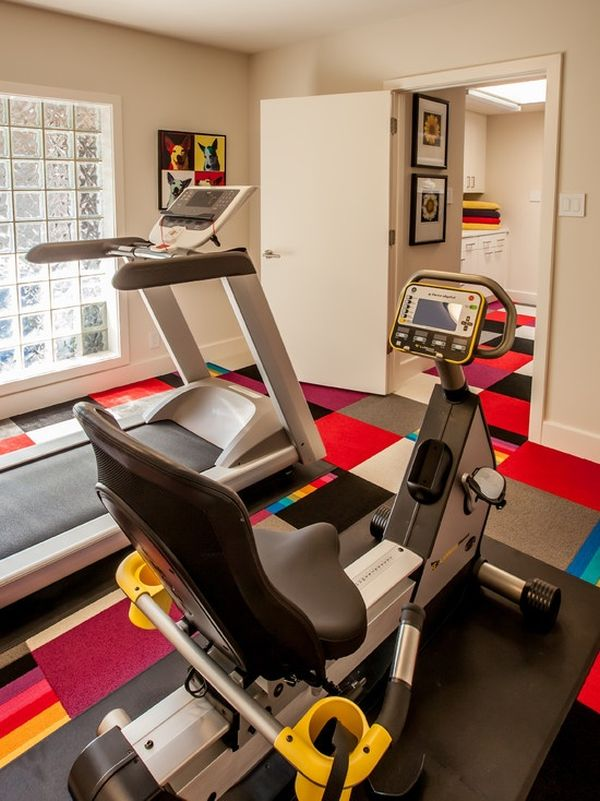 Colorful flooring brings the small home gym alive