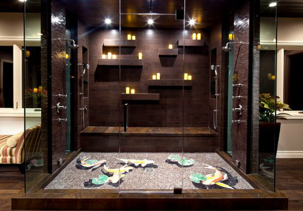 Colorful koi mosaic floor and the candles create a truly stunning steam shower Steam Showers For Some Home Spa Like Luxury!
