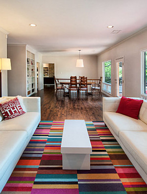 Colorful rug in a modern living room