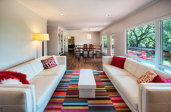 view in gallery colorful rug in a modern living room