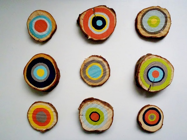 Colorful wooden cross section wall art