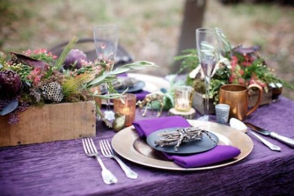 Combine natural greens along with purple