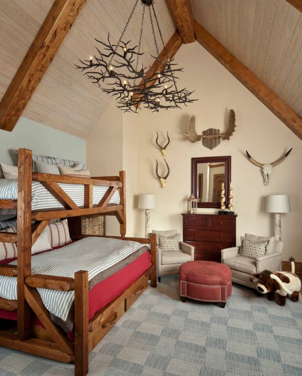 Compact boys' bedroom with a rustic theme