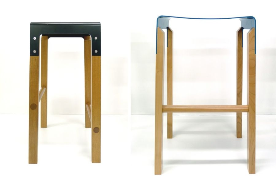 Composite Stool in blue and black