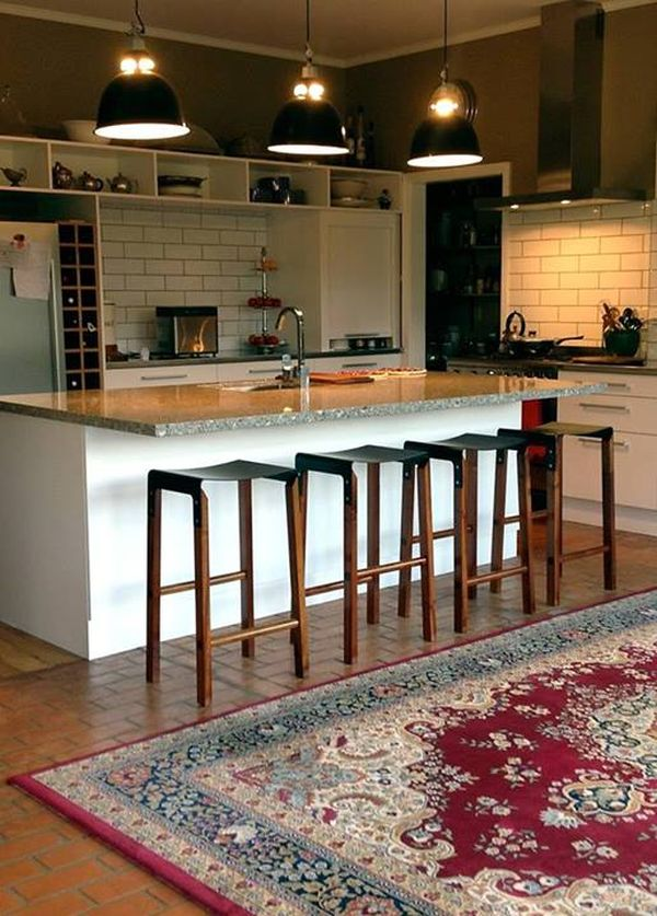 Composite stool at the kitchen island