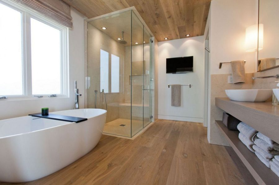 Contemporary bathroom wit glass shower area