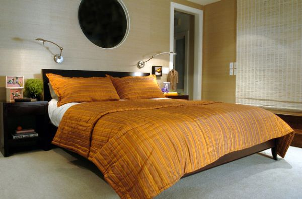 Contemporary bedroom with stylish textured walls