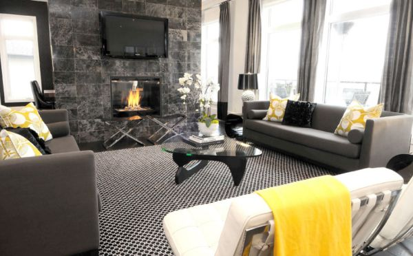 Contemporary black and white living room with fresh yellow accents