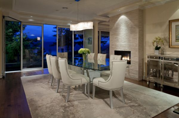 Contemporary dining room with fireplace idea
