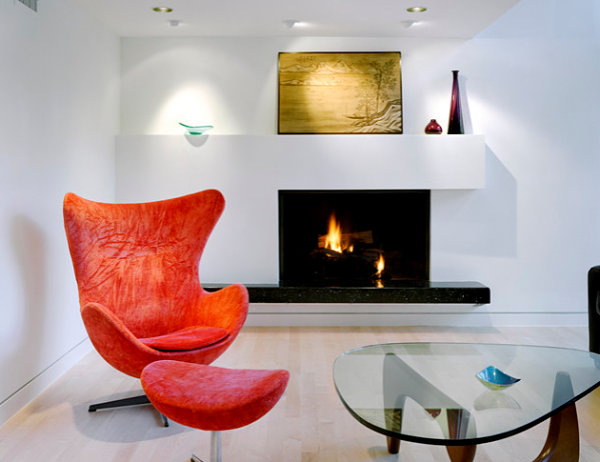 Contemporary fireplace in a modern living room