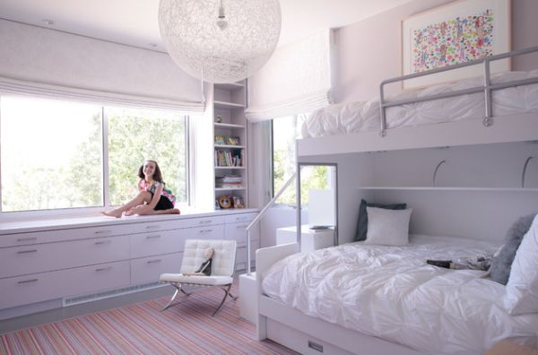 Contemporary girls' bedroom in white with plush bunk beds