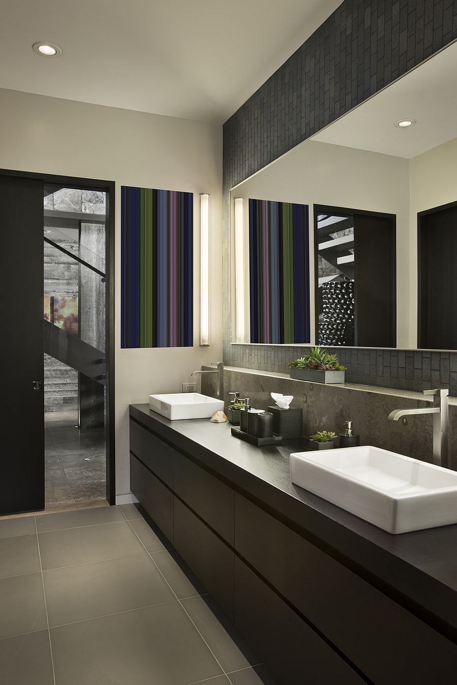 Contemporary guest bathroom at the stylish ski resort