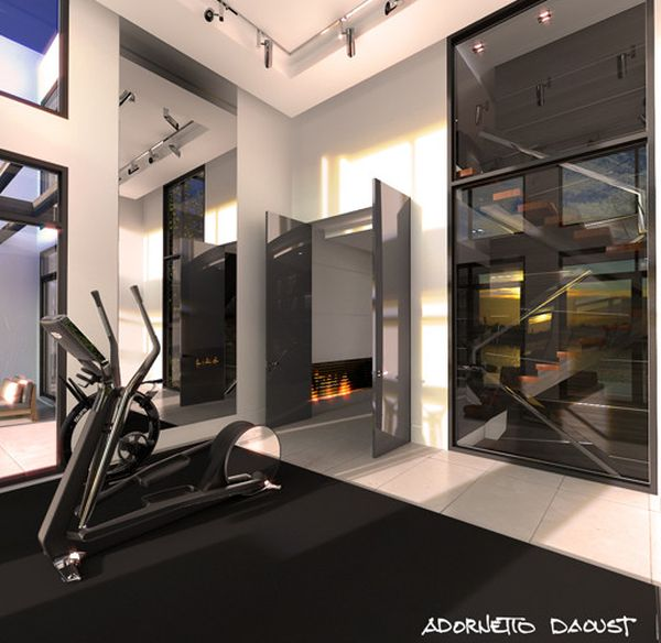 Contemporary home gym in black for the minimalist home
