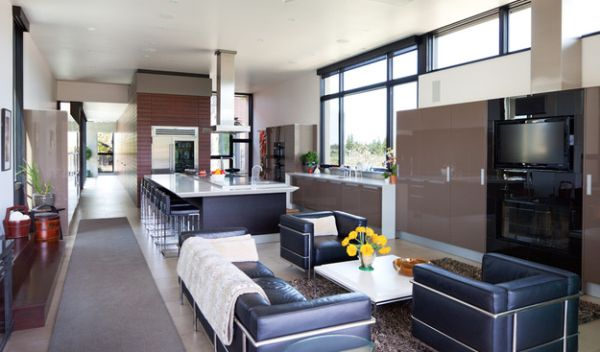 Contemporary kitchen with ample seating space