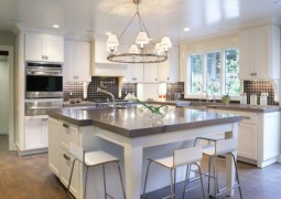 Contemporary kitchen with sparkling countertop