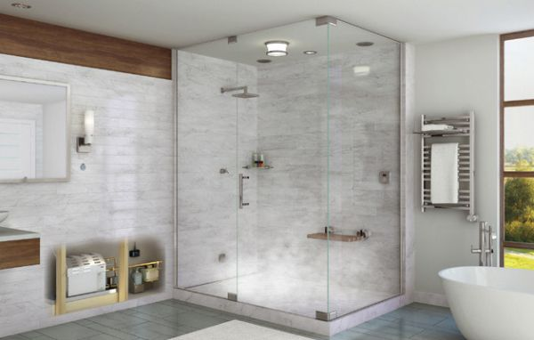 Contemporary steam bath in a minimal setting