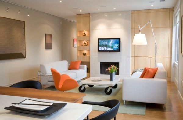 Cool orange accents spread across the living room